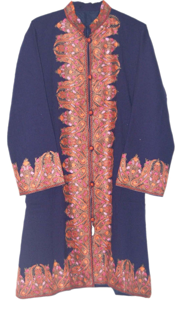 Embroidered Woolen Coat Navy Blue, Multicolor Embroidery #BD-104
