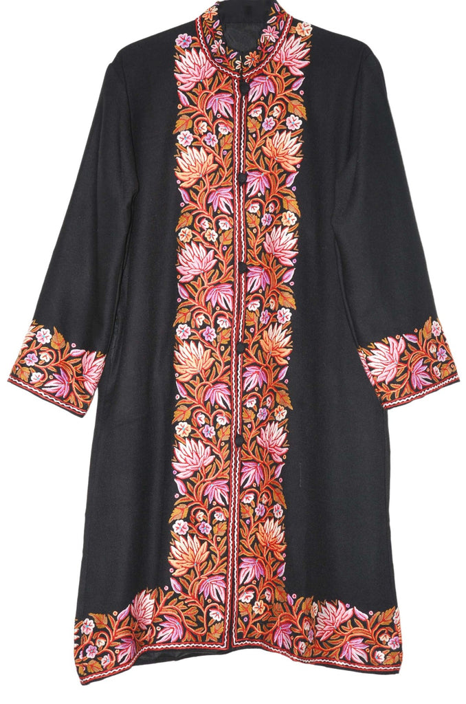 Embroidered Woolen Coat Black, Multicolor Embroidery #BD-105