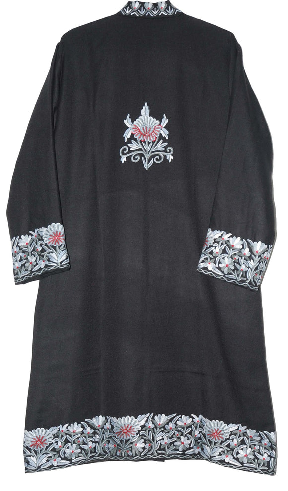 Embroidered Woolen Coat Black, Red and Grey Embroidery #BD-106