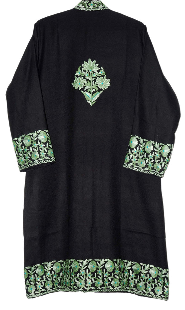 Embroidered Woolen Coat Black, Olive Sea Green Embroidery #BD-108