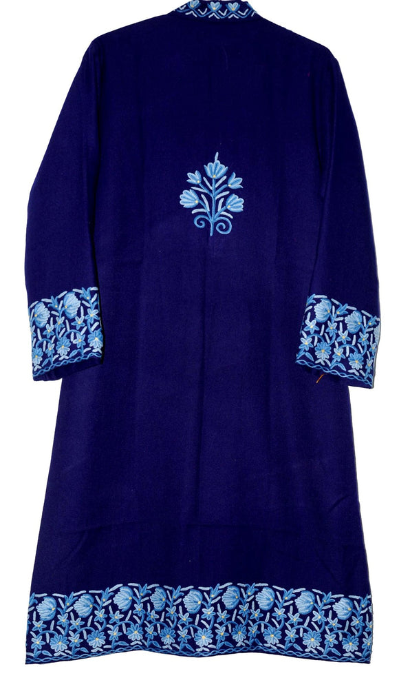Embroidered Woolen Coat Navy, Blue Embroidery #BD-109