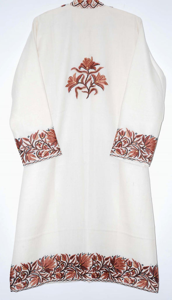 Embroidered Woolen Coat White, Brown Embroidery #BD-110