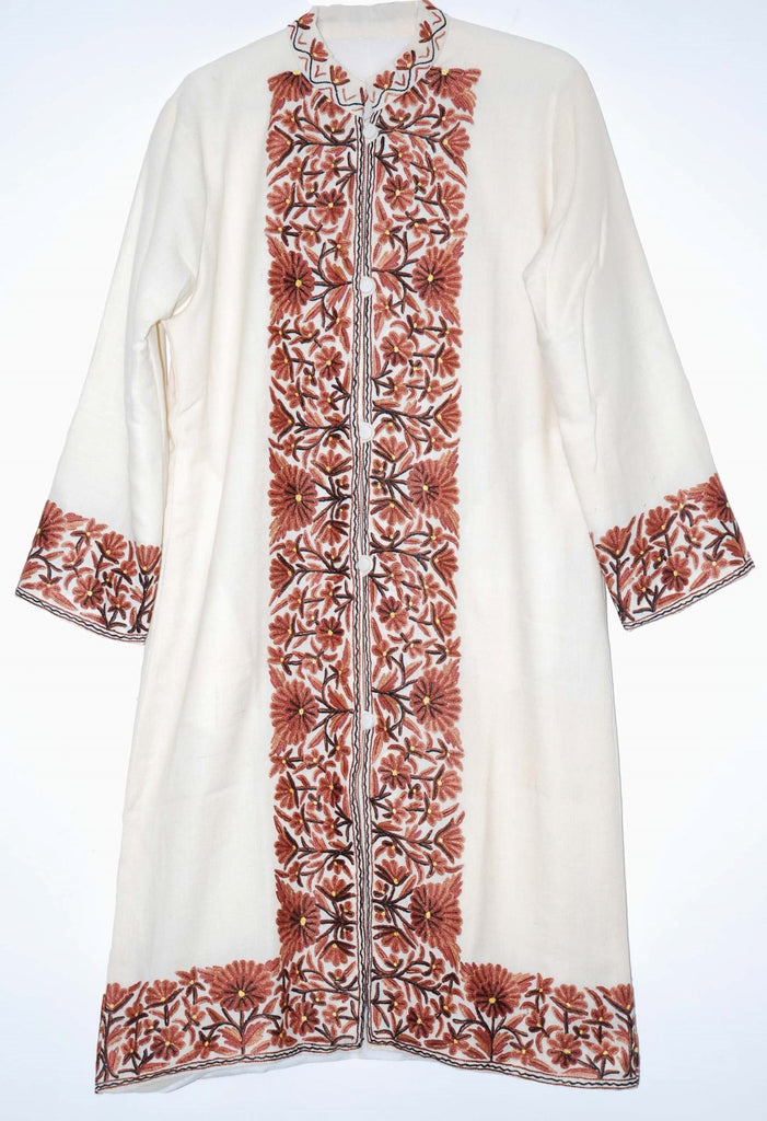 Embroidered Woolen Coat White, Brown Embroidery #BD-111