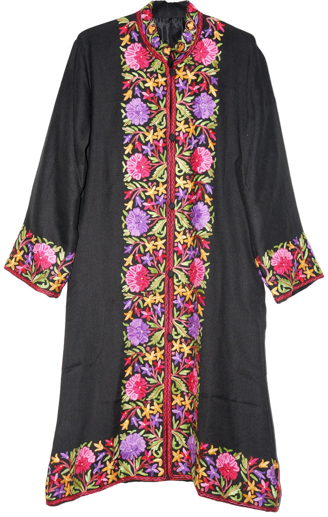 Embroidered Woolen Coat Black, Multicolor Embroidery #BD-112