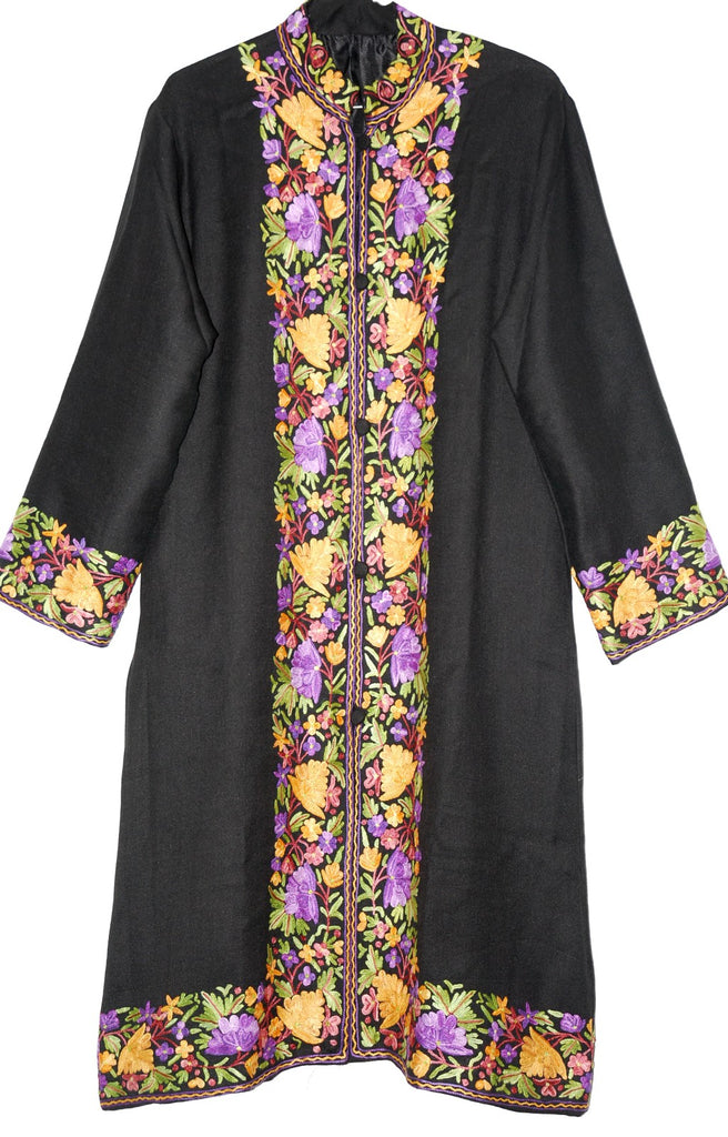 Embroidered Woolen Coat Black, Multicolor Embroidery #BD-113