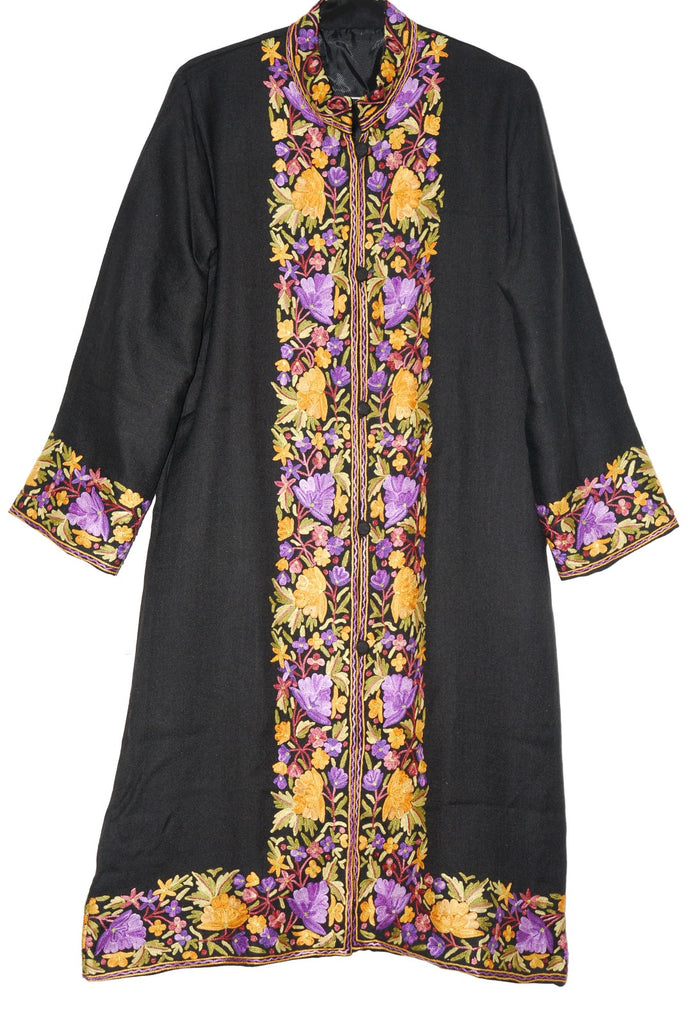 Embroidered Woolen Coat Black, Multicolor Embroidery #BD-114