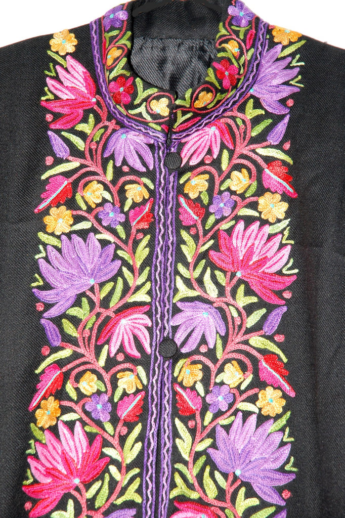 Embroidered Woolen Coat Black, Multicolor Embroidery #BD-115