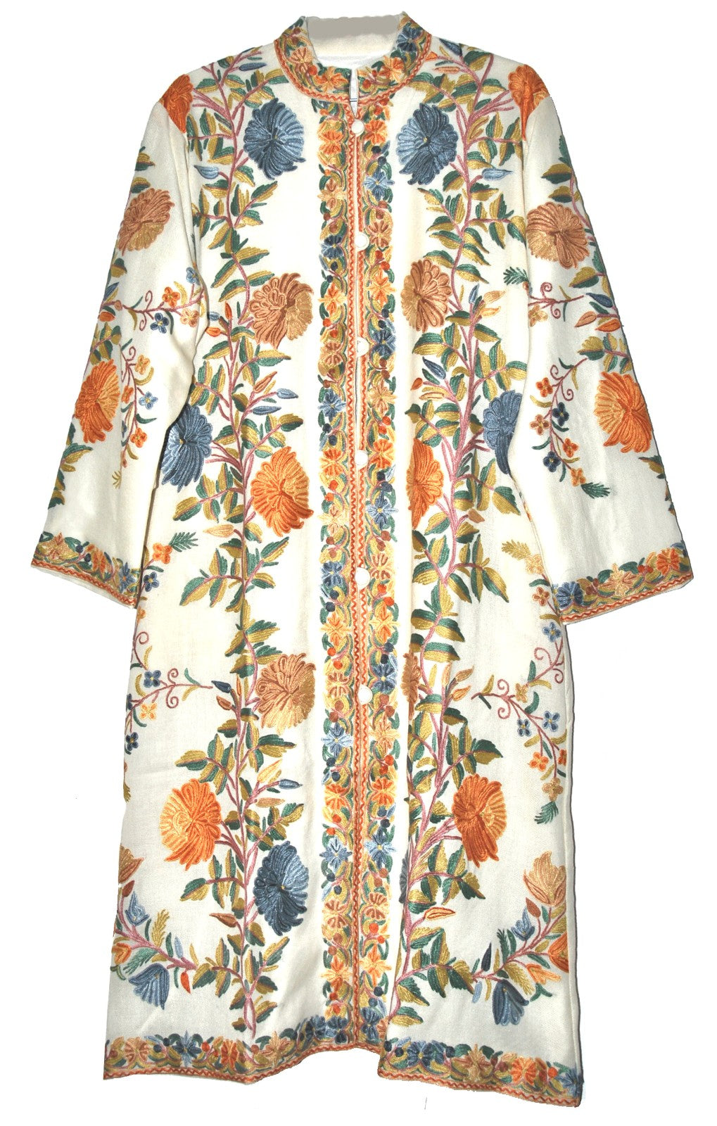 Woolen Coat Long Jacket White, Multicolor Embroidery #AO-168