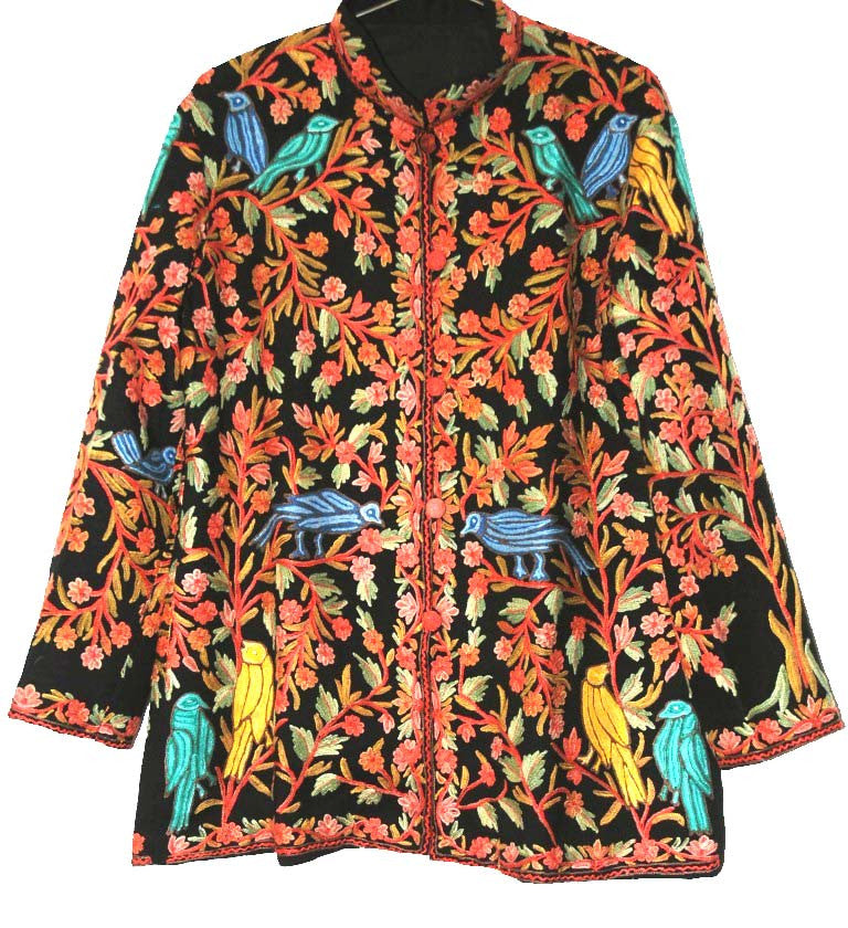 "Embroidered Woolen Jacket ""Birds"" Black, Multicolor Embroidery #AO-028"
