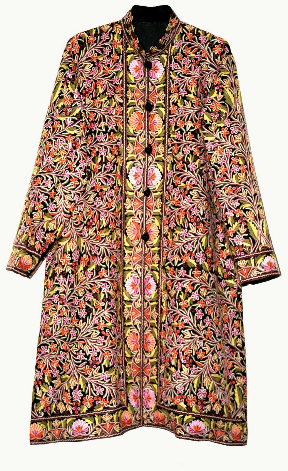"Woolen ""Jamawar"" Coat Long Jacket Black, Multicolor Embroidery #JM-115"
