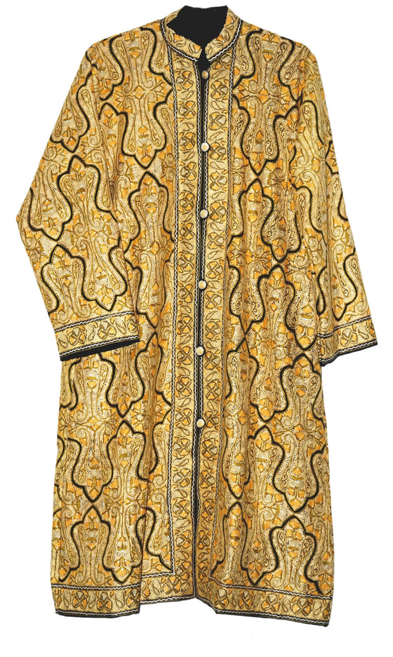 "Kashmiri Woolen ""Jamawar"" Coat Black, Yellow and Olive Embroidery #JM-122"