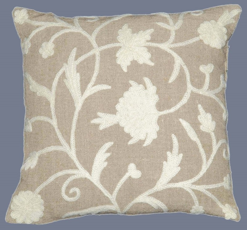 Linen Crewel Pillow Cushion Cover, White on Beige #CW622