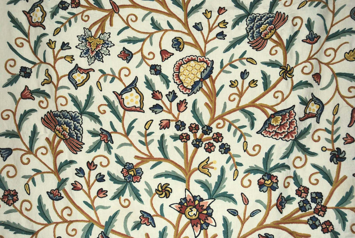 "Linen Crewel Embroidered Fabric ""Tree of Life"" Beige, Multicolor #DDR602"