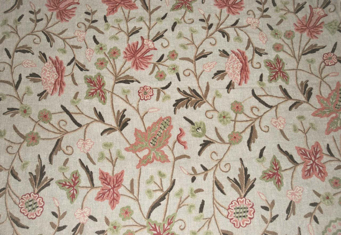 Linen Crewel Embroidered Fabric Floral Beige, Multicolor #FLR603