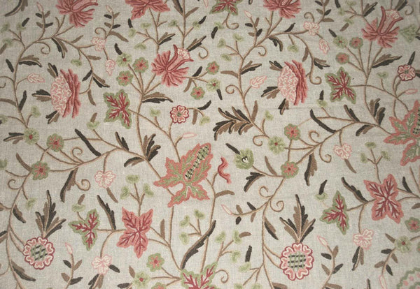 Linen Crewel Embroidered Fabric Floral Beige Multicolor