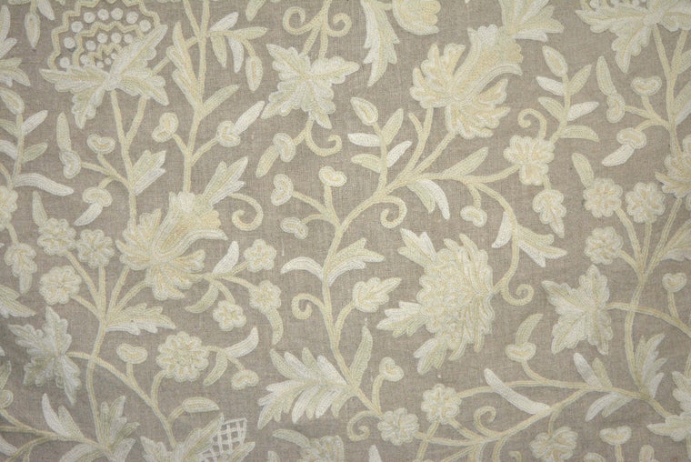 Linen Crewel Embroidered Fabric Floral Beige, Multicolor #FLR621
