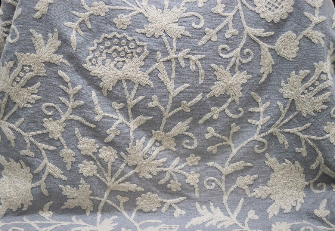 Linen Crewel Embroidered Fabric Floral White On Grey Flr641 Best
