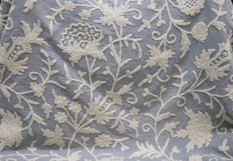 Linen Crewel Embroidered Fabric Floral, White on Grey #FLR641