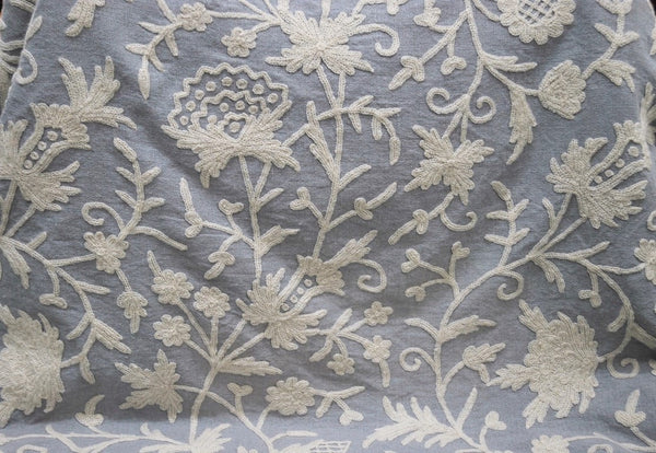 Linen Crewel Embroidered Fabric Floral White On Grey