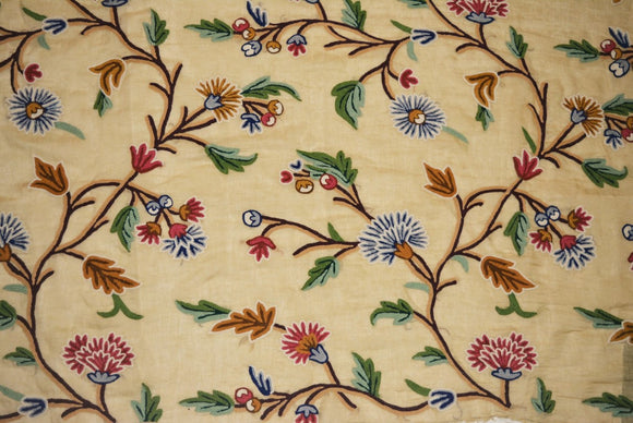 Linen Crewel Embroidered Sheer Fabric Beige, Multicolor #FLR612