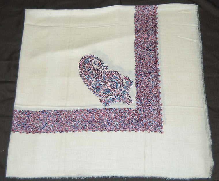 Kashmir Pashmina Cashmere Embroidered Shawl Arab Scarf, Blue on White #PRM-021