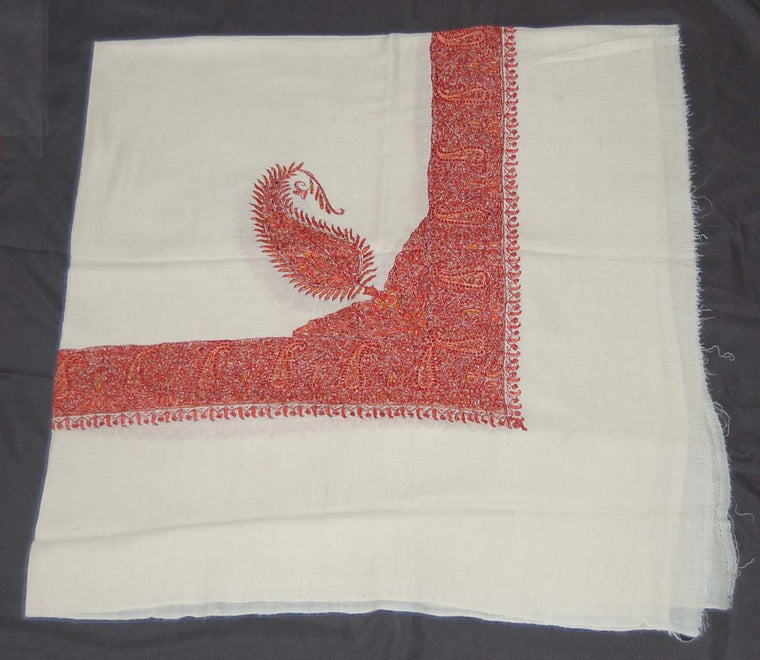 Kashmir Pashmina Cashmere Embroidered Shawl Arab Scarf White, Multicolor #PRM-103