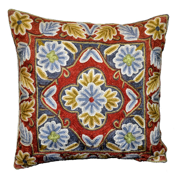 Crewel Silk Embroidered Cushion Pillow Cover, Multicolor #CW2002