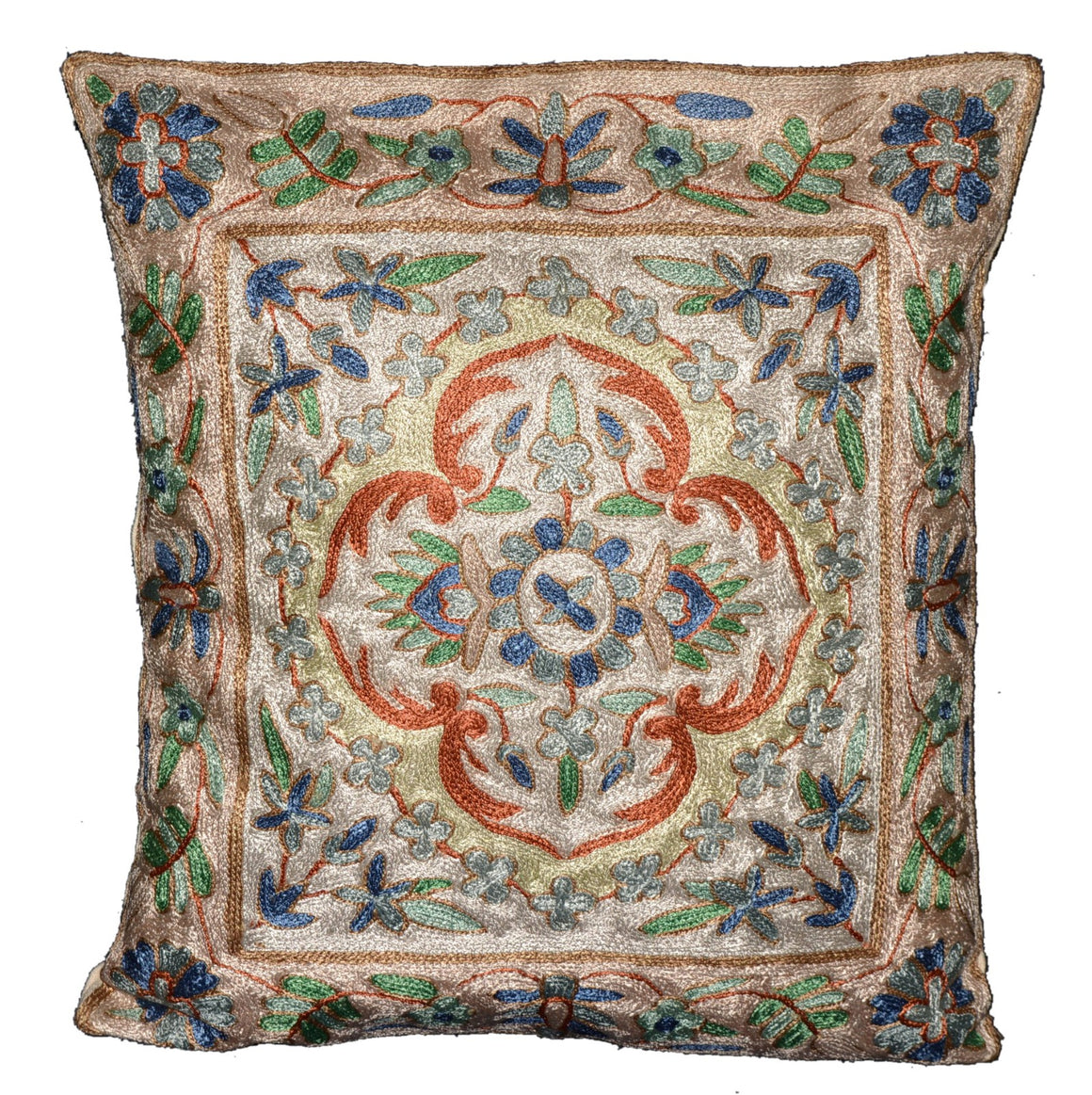 Crewel Silk Embroidered Cushion Pillow Cover, Multicolor #CW2003