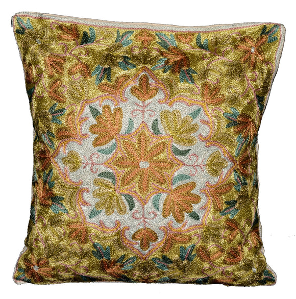 Crewel Silk Embroidered Cushion Pillow Cover, Multicolor #CW2005