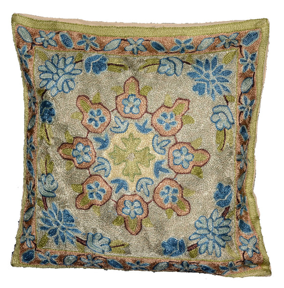 Crewel Silk Embroidered Cushion Pillow Cover, Multicolor #CW2004