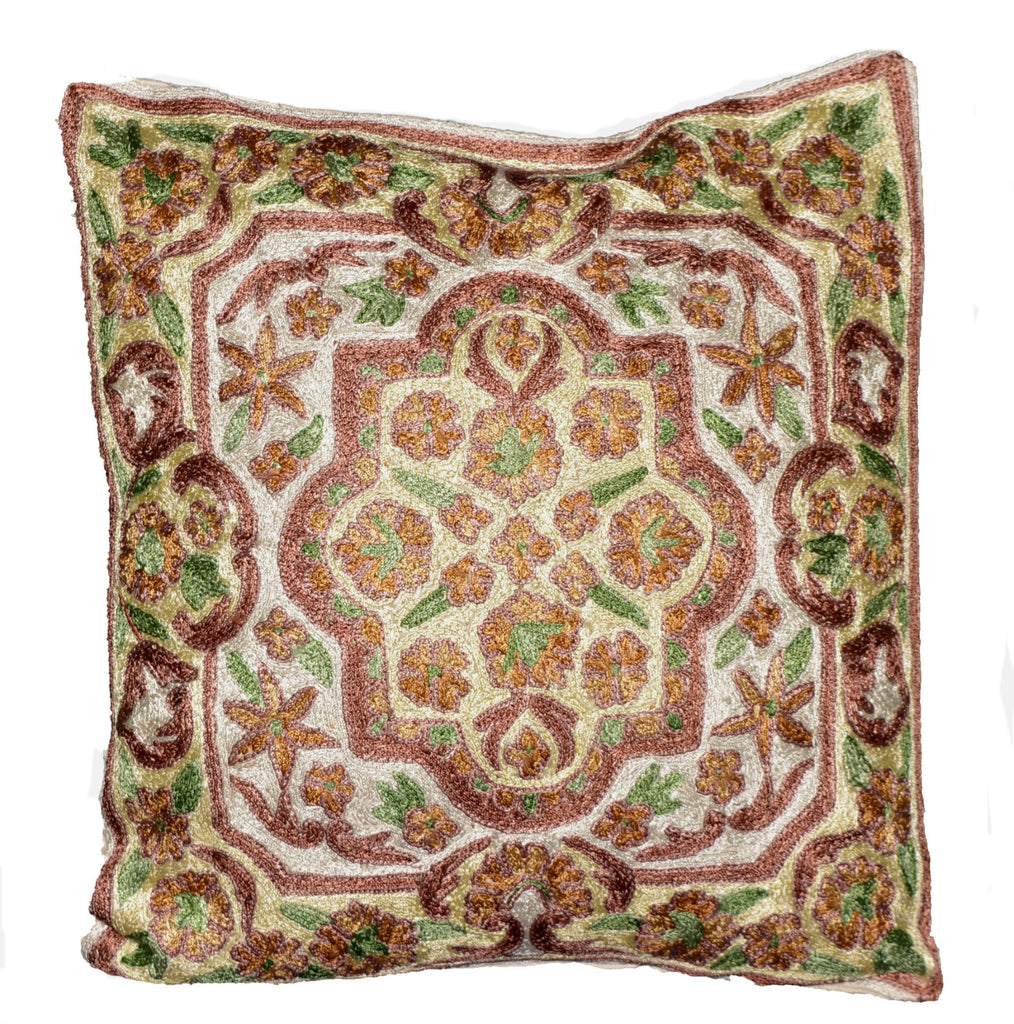 Crewel Silk Embroidered Cushion Pillow Cover, Multicolor #CW2006