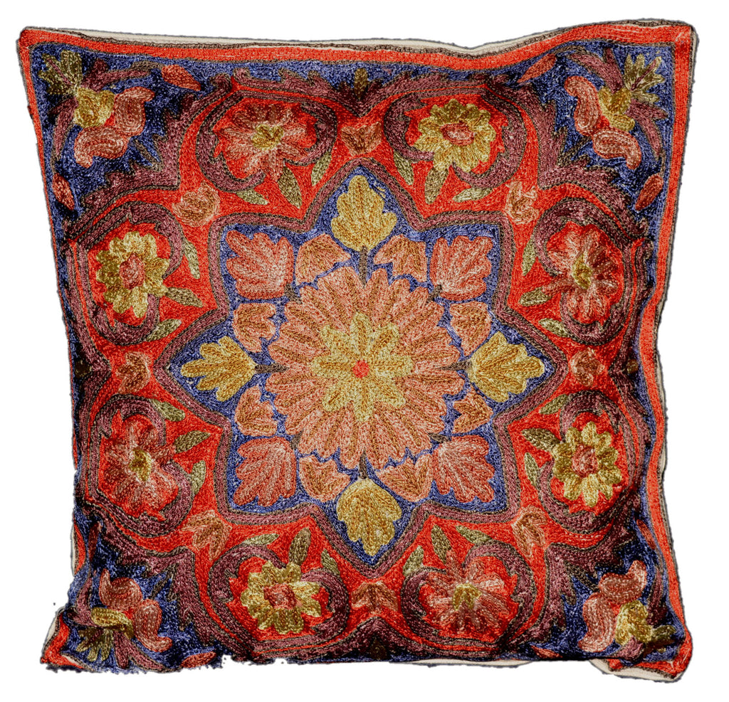 Crewel Silk Embroidered Cushion Pillow Cover, Multicolor #CW2008