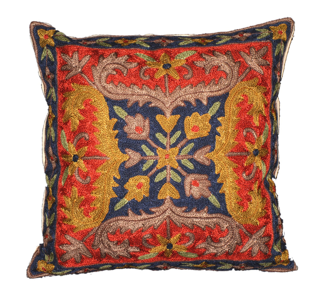 Crewel Silk Embroidered Cushion Pillow Cover, Multicolor #CW2013