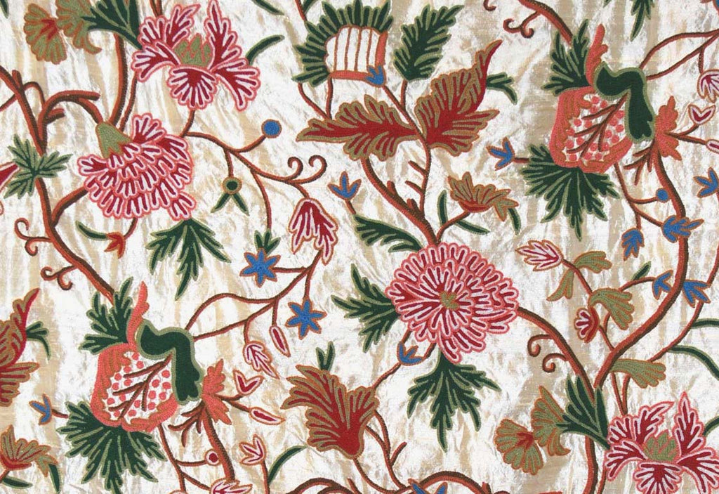 Silk Crewel Embroidered Fabric Gold, Multicolor #SL712