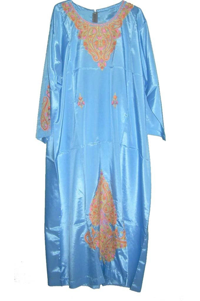 Silk Embroidered Kaftan Caftan Turquoise, Multicolor Embroidery #SKF-002