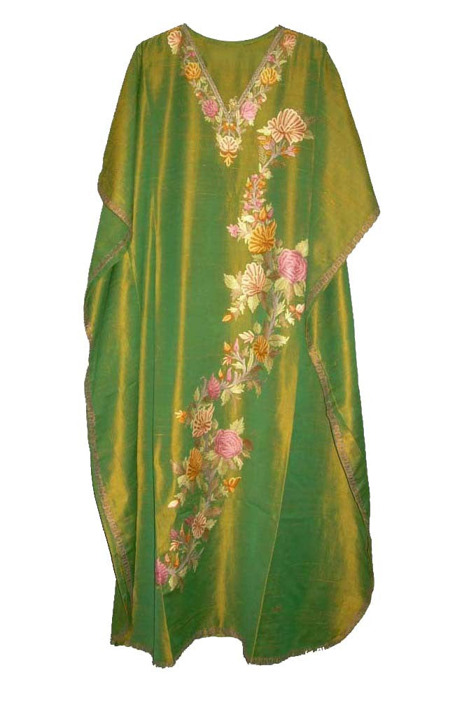 Silk Embroidered Kaftan Caftan Green, Multicolor Embroidery #SKF-004