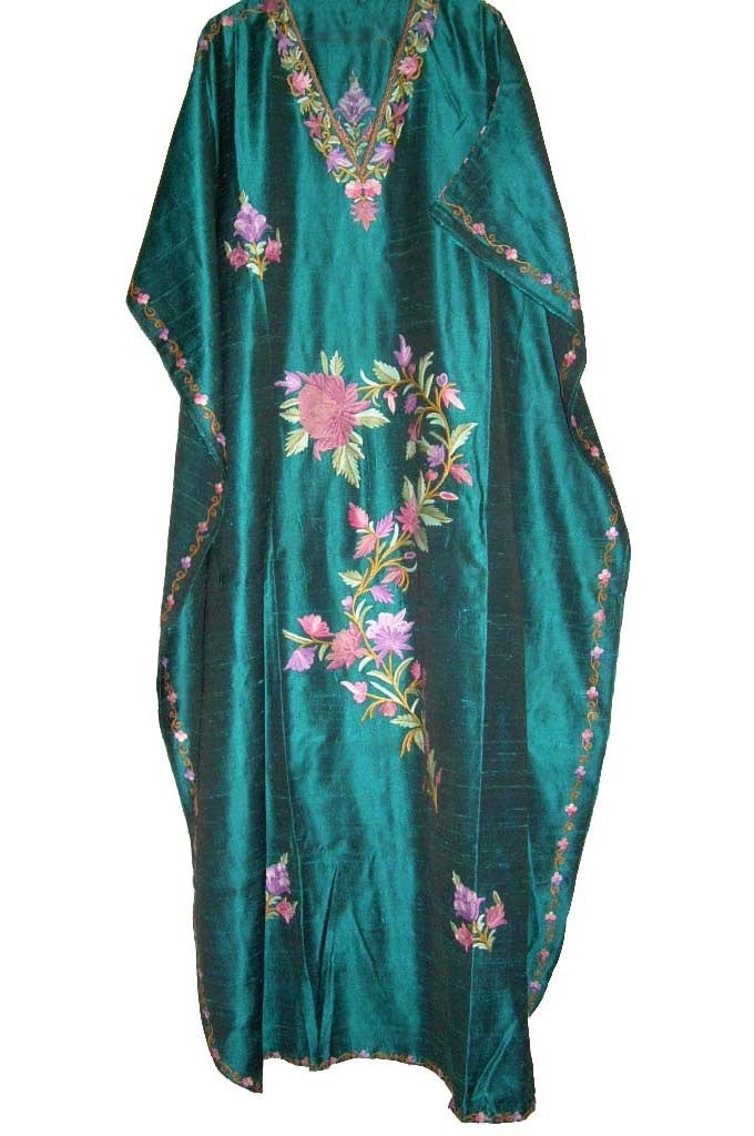 Silk Embroidered Kaftan Caftan Green, Multicolor Embroidery #SKF-006