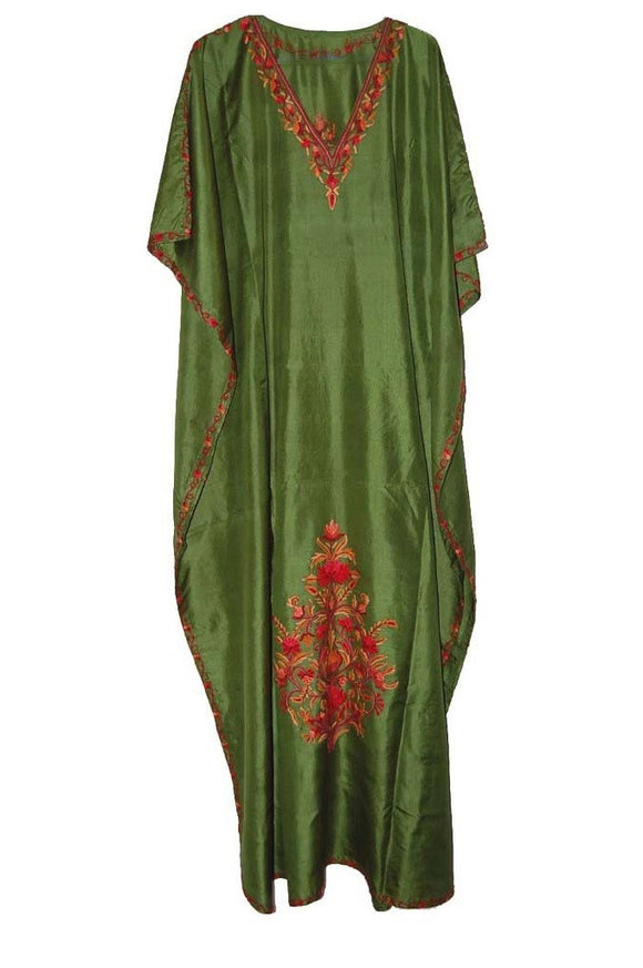 Silk Embroidered Kaftan Caftan Green, Multicolor Embroidery #SKF-007