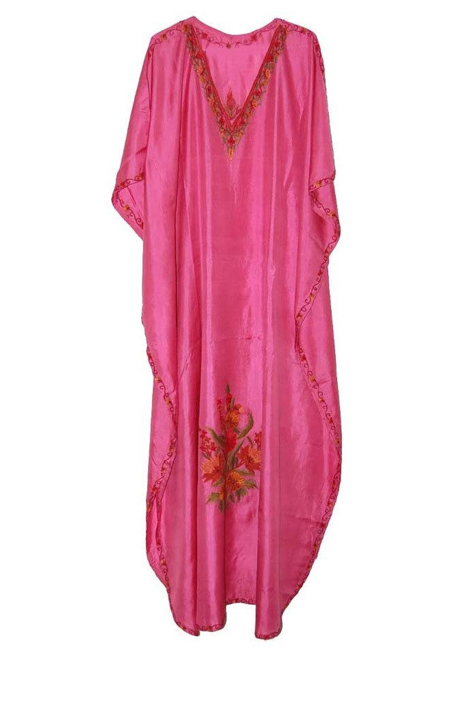 Silk Embroidered Kaftan Caftan Pink, Multicolor Embroidery #SKF-008