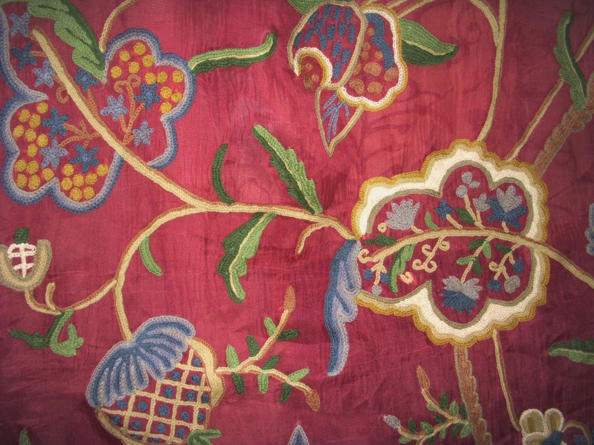 Silk Organza Crewel Embroidered Sheer Fabric Burgundy, Multicolor #SL202