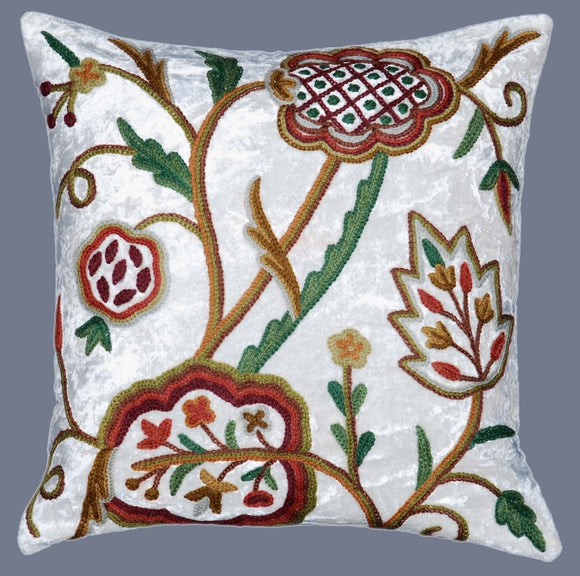 Velvet Crewel Pillow Cushion Cover White, Multicolor #CW528