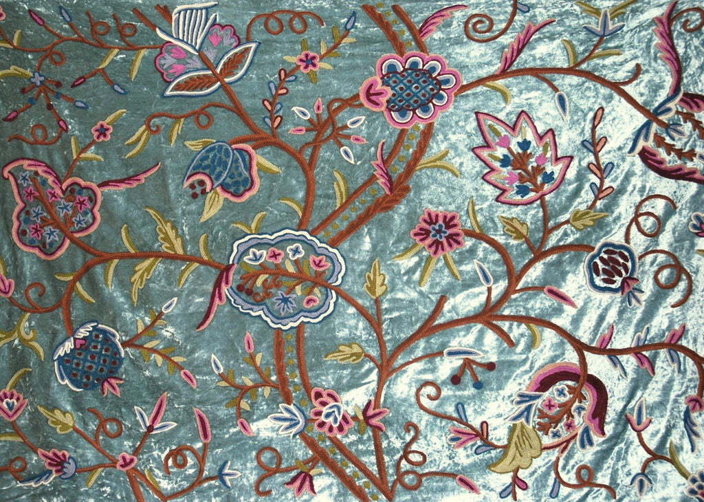 Velvet Crewel Embroidered Fabric Teal, Multicolor #CV402
