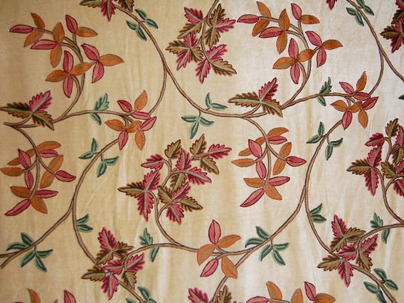 Velvet Crewel Embroidered Fabric Beige, Multicolor #CV003