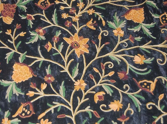 Velvet Crewel Embroidered Fabric Black, Multicolor #CV206