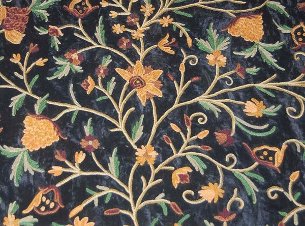 Velvet Crewel Embroidered Fabric Black Multicolor Cv206