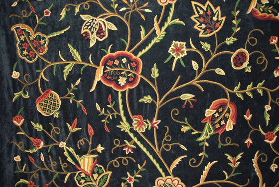 Velvet Crewel Embroidered Fabric Black, Multicolor #CV303