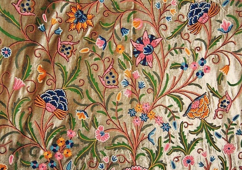 Velvet Crewel Embroidered Fabric Olive, Multicolor #CV202
