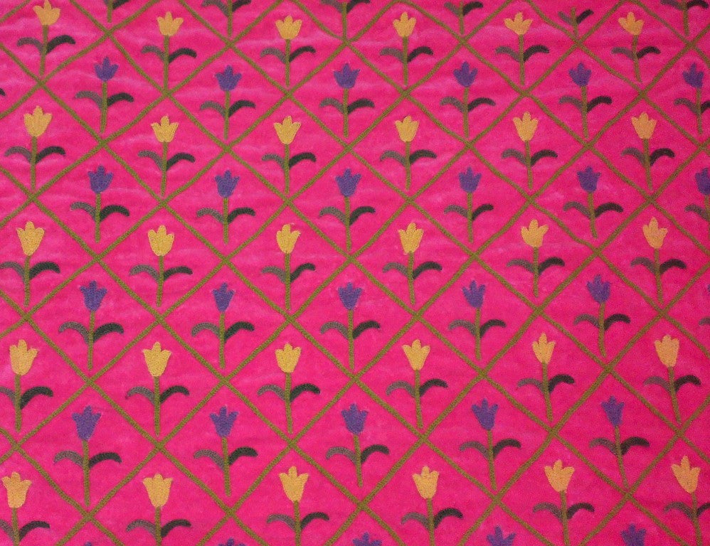 Velvet Crewel Embroidered Fabric Pink, Muticolor #CV004