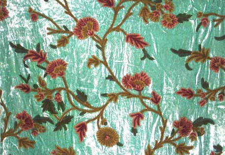Velvet Crewel Embroidered Fabric Sea Green, Multicolor #CV001
