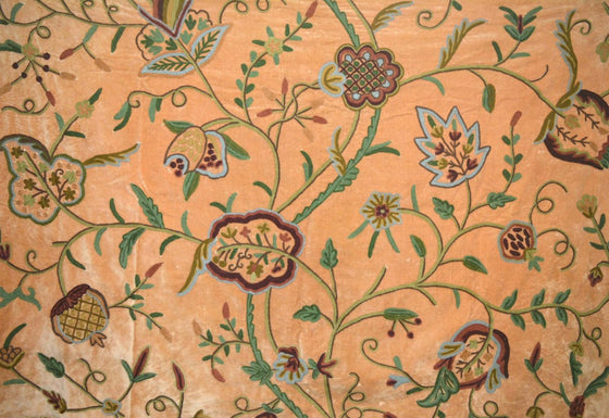 "Velvet Crewel Embroidered Fabric ""Watlab"" Tan, Multicolor #CV305"